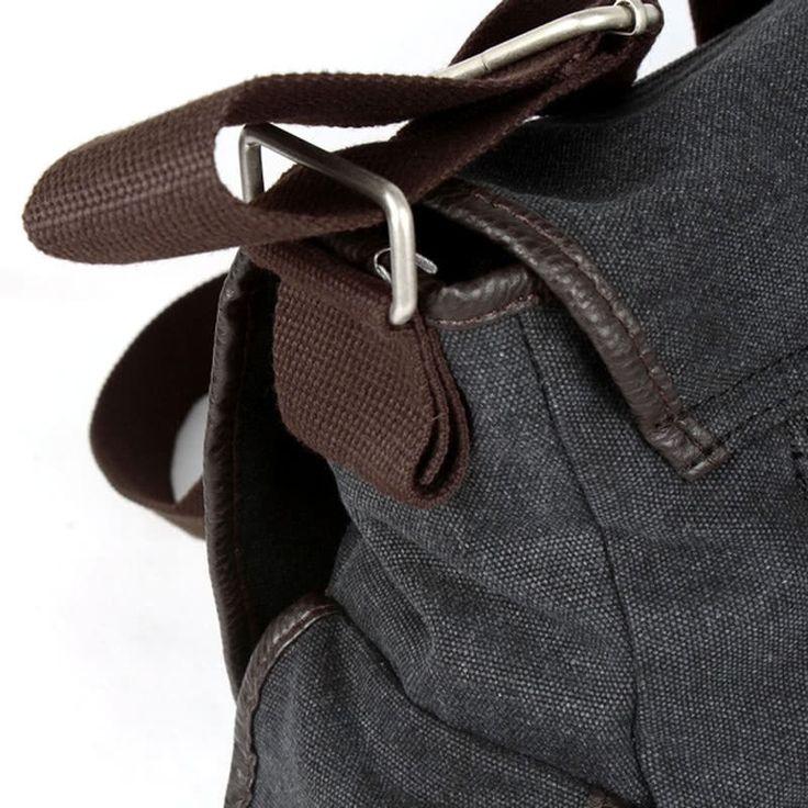 Cheap black Men's Canvas Vintage Crossbody Satchel Shoulder Casual Messenger School Book Bag Black Online Shopping | Tomtop