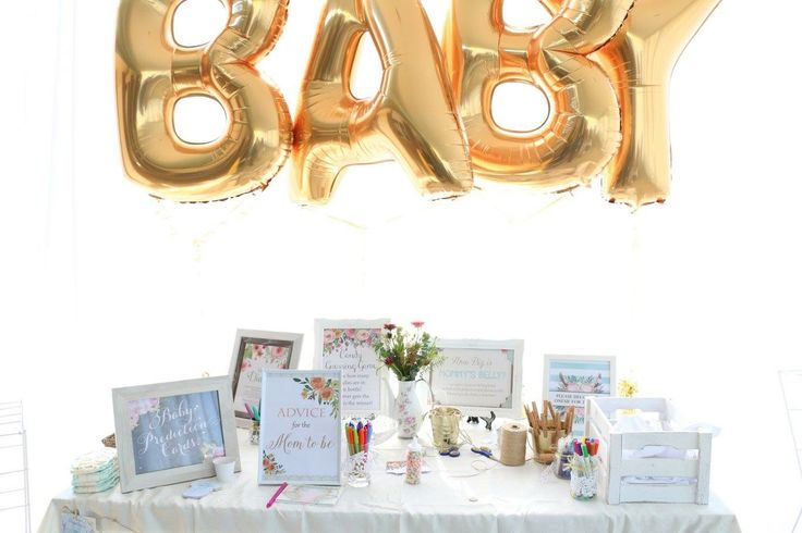 Baby shower game table, foil balloons, baby shower, tea party