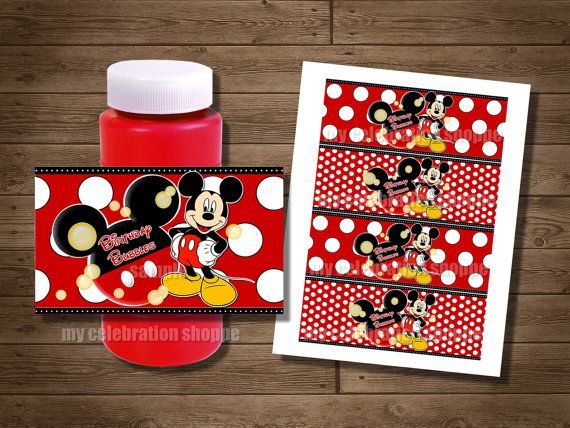 INSTANT DOWNLOAD Mickey Mouse Bubble Wrappers - Red Yellow Black Mickey Mouse Birthday Party Favors for Goodie Bags $3.50 PDF