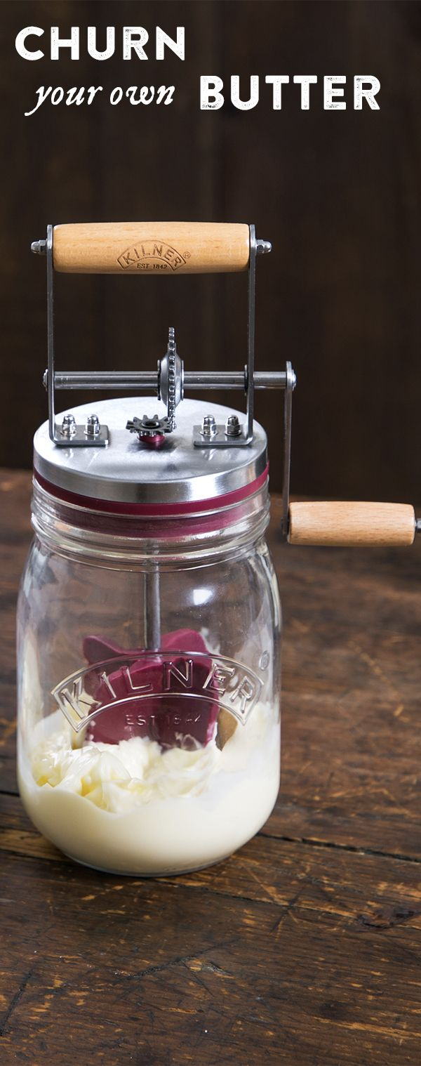Turn the handle, get homemade butter. Make homemade butter in about 10 minutes. This modern update of an old-fashioned churner was designed by a trusted English glass jar maker.