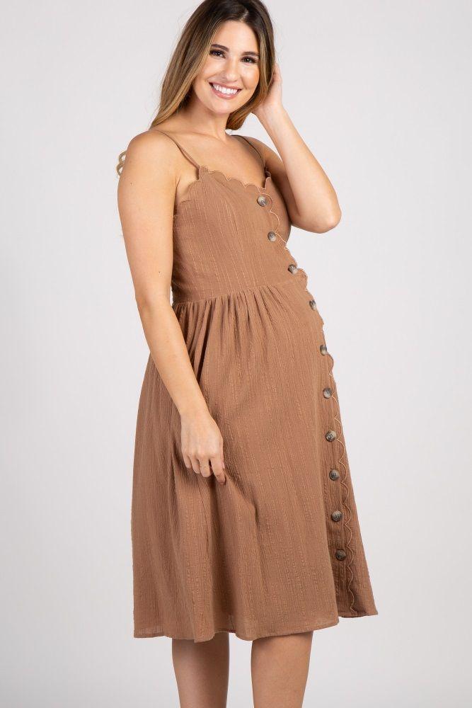 80b2afd37e47 Camel Scalloped Button Front Maternity Midi Dress | Bambino ...