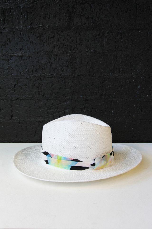 White Geometric Trim Hat