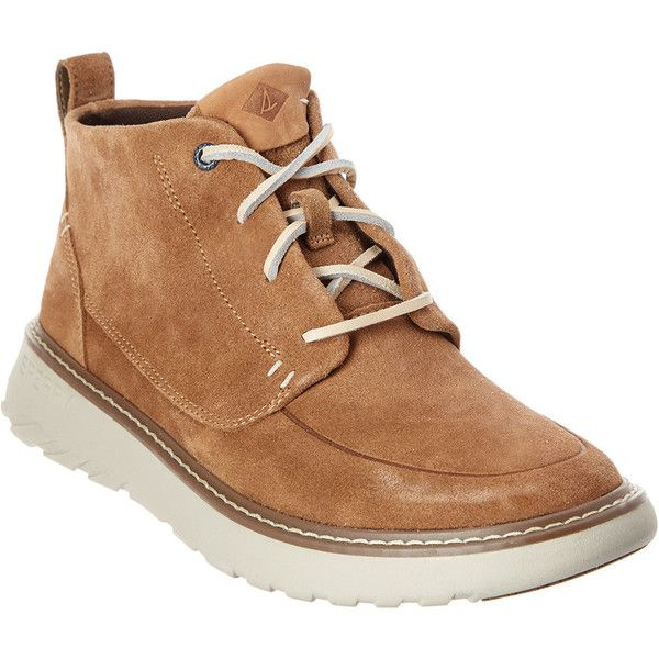 Sperry Men's Element Suede Chukka Boot (320 BRL) ❤ liked on Polyvore featuring men's fashion, men's shoes, men's boots, brown, mens rubber sole shoes, mens suede chukka boots, mens brown shoes, mens brown boots and mens suede boots