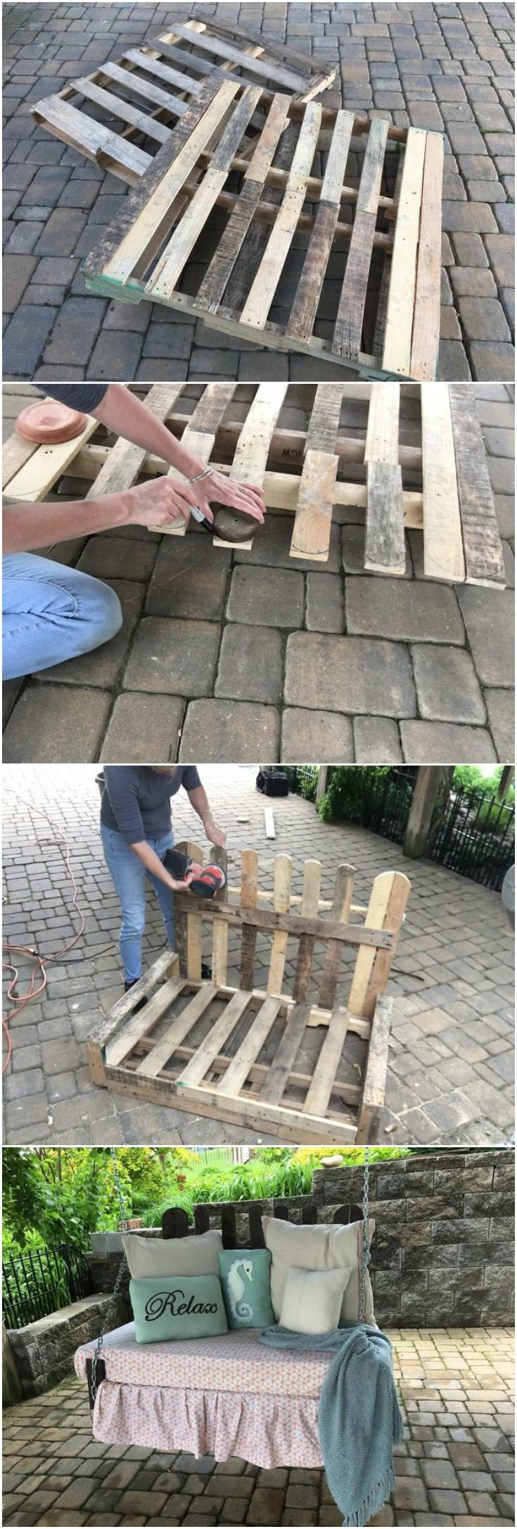 Make a pallet swing for $40! I've seen quite a few pallet swing projects that use extra wood in addition to the pallet wood; however, this swing only uses the wood from two pallets.