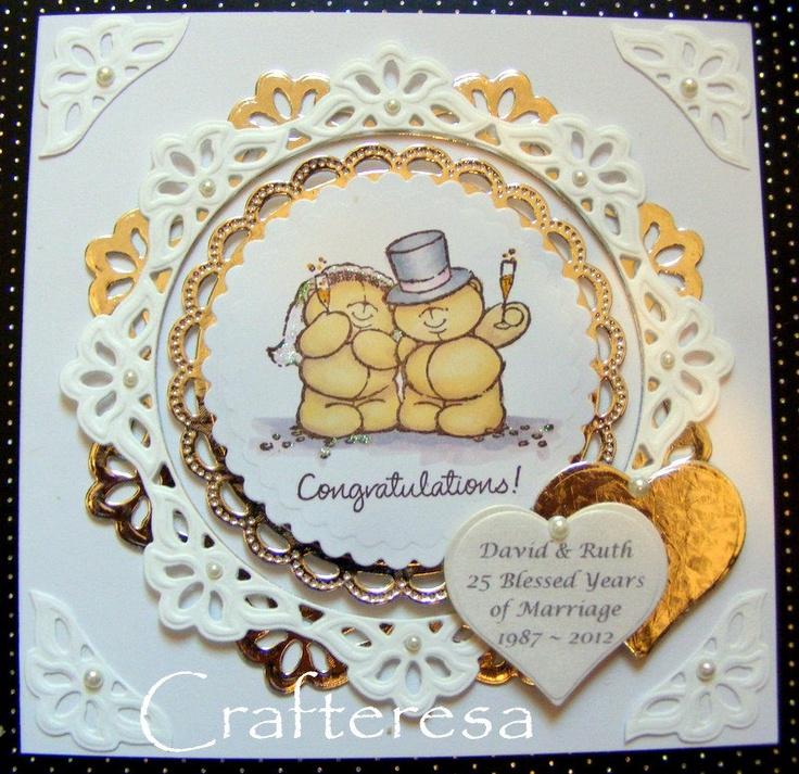 Silver Wedding Anniversary Personalised Luxury Handmade Card hearts & Cute Bears beautiful. £4.99, via Etsy.