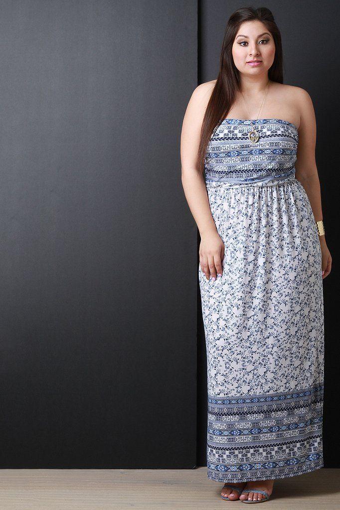 Empire Waist Floral Print Strapless Maxi Dress – Style Lavish