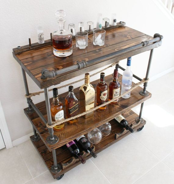 Handmade Rustic Industrial Pipe and Solid Wood Bar Cart. Unique and Customizable for whiskey, wine, drinks, bottle opener