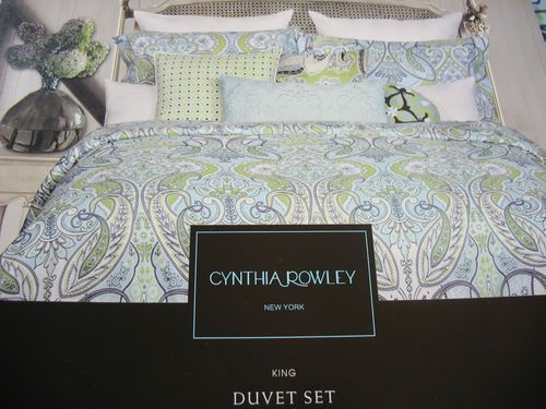 Cynthia Rowley Blue Lime Grey Paisley Floral 3PC KING