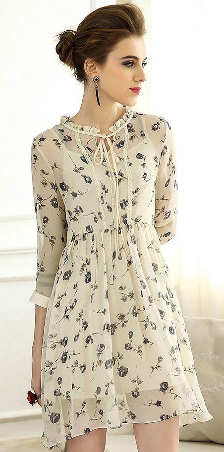 406099e7d5 Fashion Floral 3 4 Sleeve Lacing A-Line Skater Dress