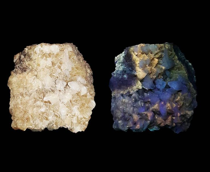 """19 Likes, 1 Comments - @what_can_the_bees_see on Instagram: """"Celestine or celestite and calcite under normal and short wave ultraviolet light. Badlands,…"""""""