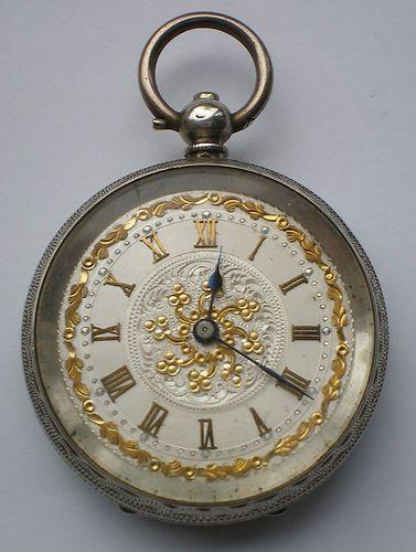 Antique Victorian Solid Silver Pocket Watch Ladies Swiss Working Order Key Wind   eBay