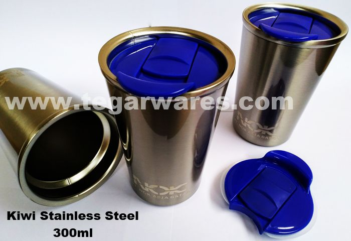 Mini stainless steel tumbler capacity 300ml Mini stainless tumbler, enough to make a cup of coffee, tea or other drinks to accompany your activities. View image above tumbler type Kiwi Stainless with branding logo ordered by PT NOK Asia Batam, Batam Kepulauan Riau, Indonesia