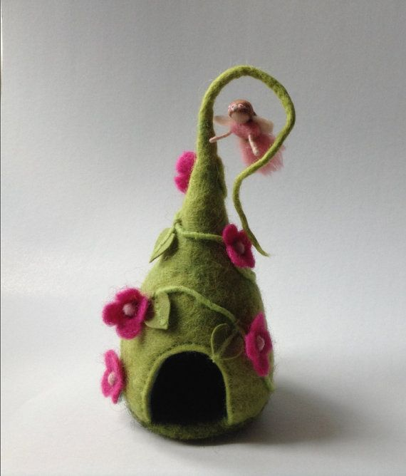 Felted fairy house ornament with little waldorf by lovebluecats on etsy
