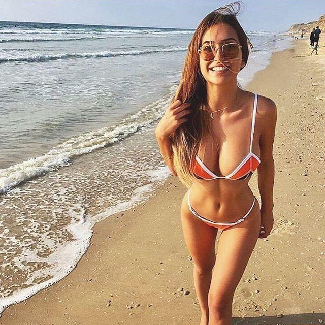 Splash tri bikini top | navy / tangerine / white