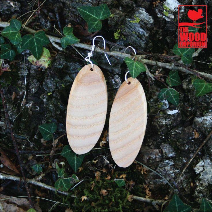 Ash Wood Handmade Oval Earrings
