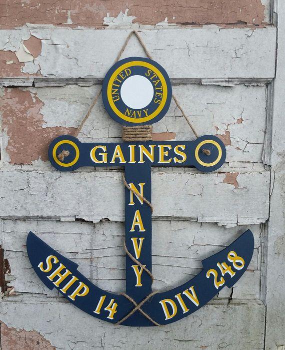 Personalized Navy Anchor Door Hanger Nautical Decor Navy Anchors