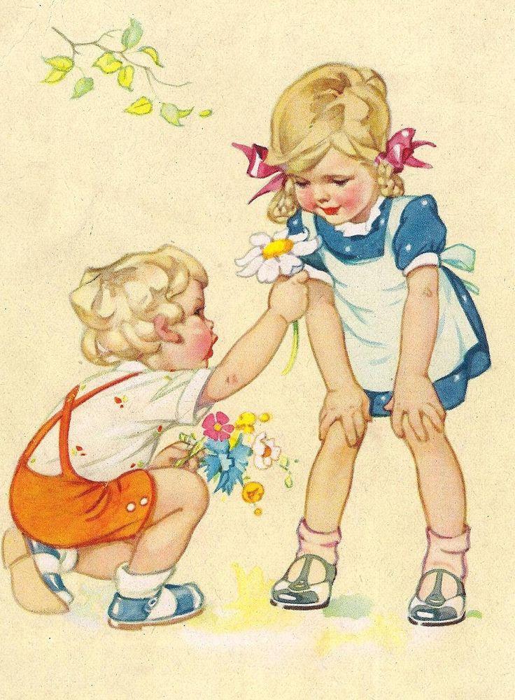 Рисунок девушка, немецкие открытки детей 40-50
