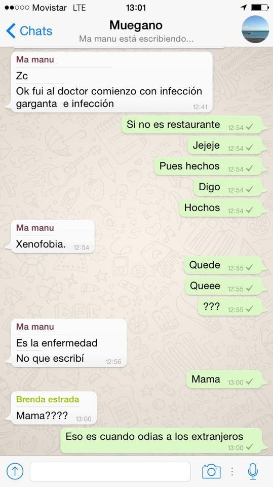 A mi #Mamá le diagnosticaron #xenofobia. #WhatsApp #Texting #Funny #Lol