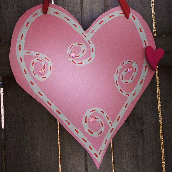 Pink Heart Embellished Valentine's Door Sign on Etsy, $38.00