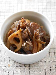 牛肉とレンコン、舞茸のしぐれ煮