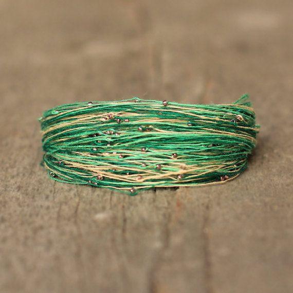 Green bracelet Linen bracelet Magnetic Bracelet by Naryajewelry