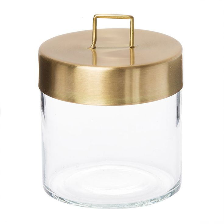 Zakkia canister brass and glass // Handmade glass storage with a solid brass lid. Great for bathroom or kitchen storage.  $34.95