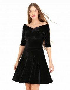Black velour bardot neck flare dress -  Velvet