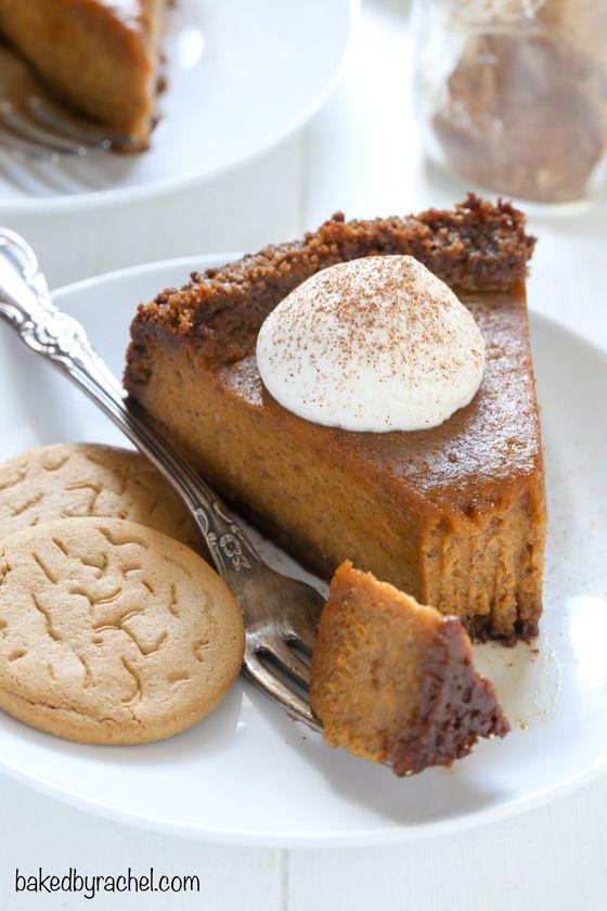 Deep dish pumpkin pie with gingersnap crust recipe from @bakedbyrachel
