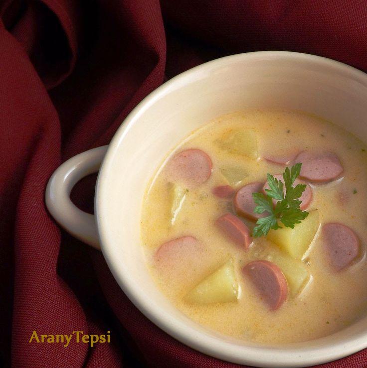 Tejtölös krumplileves virslivel