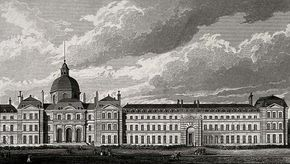 Hôpital de la Salpêtrière, Paris: panoramic view. Engraving by B. Winkles after B. Ferrey after A. Pugin. (Wellcome Images/CC BY 4.0)