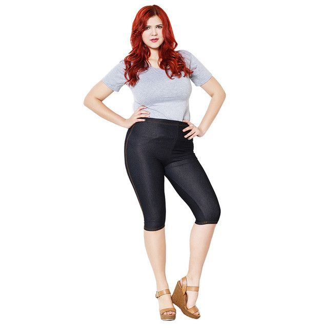 ERAEYE Women High Elastic Sexy Faux Jeans Leggings Plus Size Xl-5XL Imitation Jeans Knee Length Pants Skinny Denim Soft Leggings