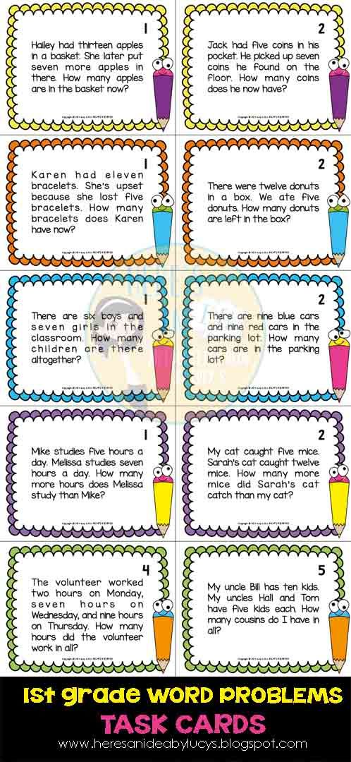 $ First Grade Math Word Problems - 63 task cards - Common Core