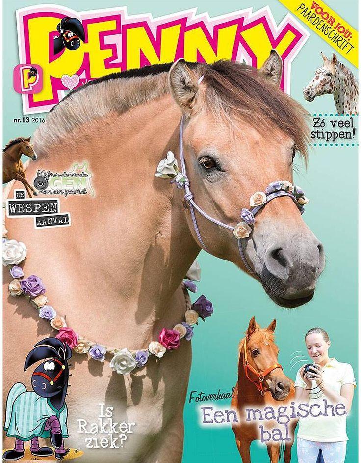 Penny 13-2016  In dit tijdschrift vind je een gloednieuwe aflevering van de serie Kijken door de ogen van een paard: merrie Babe werd aangevallen door wespen.  Rakker voelt zich niet lekker en heeft een erg vreemde koortsdroom.  Met de kwis kun je testen of jij een Camarguepaard kunt trainen. Lees alles over de Appaloosa. En in het fotoverhaal speelt een magische bal de hoofdrol.