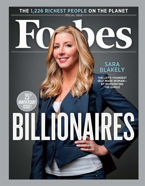 great role model, youngest self made female billionaire Forbes Billionaires cover - Sara Blakely