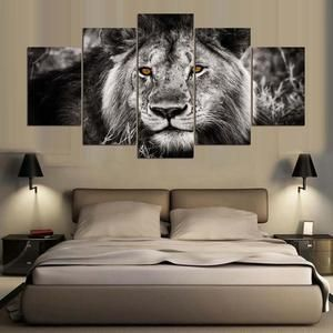 Abstract Painting Wall HD Canvas Painting 5 Panels Animal Lion – Laura's Laine