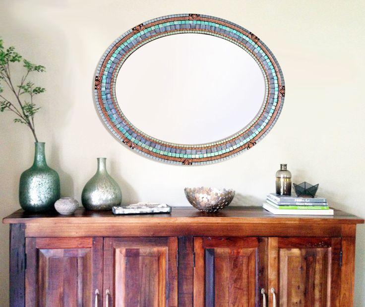 Oval Mosaic Mirror Aqua, Copper, and Gray // Mixed Media Mosaic Mirror // Wall Art by GreenStreetMosaics on Etsy https://www.etsy.com/listing/275485730/oval-mosaic-mirror-aqua-copper-and-gray