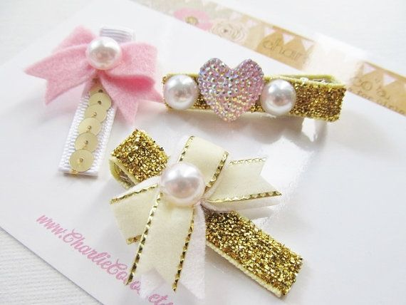 "Girls/Baby Hair Clip Set- Felt Bow Hair Clips, Pink and Gold Hair Clip Set, Felt Hair Bows, Glitter Hair Clips ""Holiday Glam Pink and Gold"""