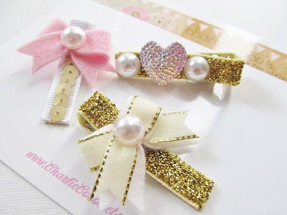 """Girls/Baby Hair Clip Set- Felt Bow Hair Clips, Pink and Gold Hair Clip Set, Felt Hair Bows, Glitter Hair Clips """"Holiday Glam Pink and Gold"""" on Etsy, $14.95"""