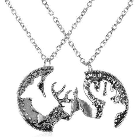 Buck and Doe interlocking pendant necklaces. The perfect gift for couples who love deer! package: Includes 2 pendants chain length: 45cm+5cm Pendant size: 30mm*30mm