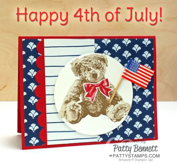 Baby Bear 4th of July patriotic card with 3-step stamping. Floral Boutique paper and red scallop from the popcorn box framelit set complete this sweet card by Patty Bennett
