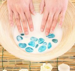 Milk soak for dry, dehydrated hands. Soak hands in warm milk for 10 minutes.