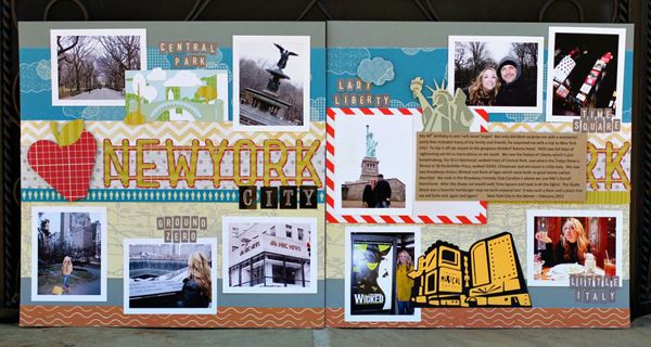 #papercraft #scrapbook #layout.   New York Scrapbook