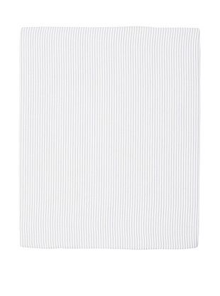 Coyuchi Mini Stripe Cotton/Linen Fitted Sheet (White with Graphite)