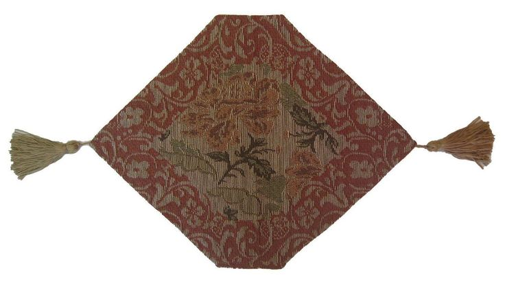 DaDa Bedding Hand-Crafted Floral Tapestry Woven Table Runner, Tan Beige Nature Garden, All Sizes