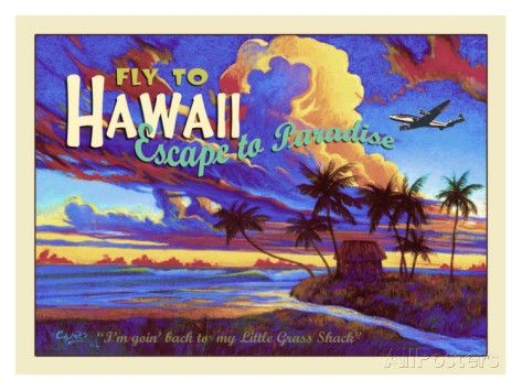 Fly to Hawaii Clipper Airline Giclee Print by Rick Sharp at AllPosters.com