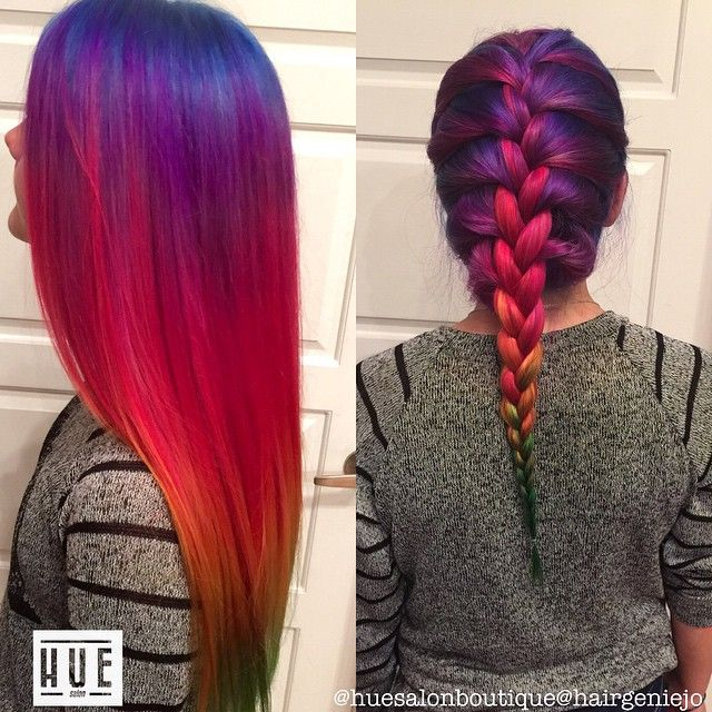 Top Post of the Day by Hues Salon & Boutique. Neon red and blue ombre. Long hair. French braid #fashionhaircolors #ombre