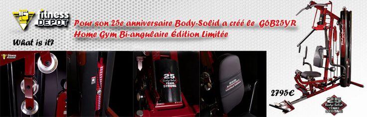 Body Solid fête ses 25 ans!  Pour souligner l'évènement de ses 25 ans d'existence, Body Solid décline sa gamme de machine de musculation en la célebrant avec le Home Gym Bi-angulaire Édition Limitée G6B25YR, dans une serie limitée.  25 ans d'existence mérite un nouveau  design: le rouge est à l'honneur!!!!!!!