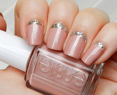 Pink with Glitter Reverse French Nails of the Day. - Miss Nattys Beauty Diary