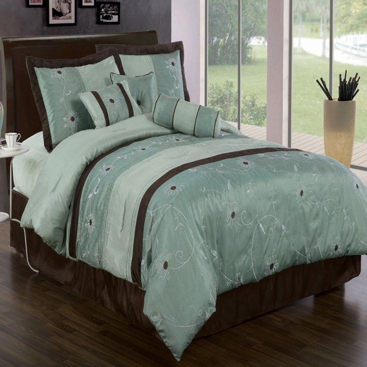 Turquoise and Brown Bedding | Grand Park Luxury 7-Piece Aqua Comforter Set