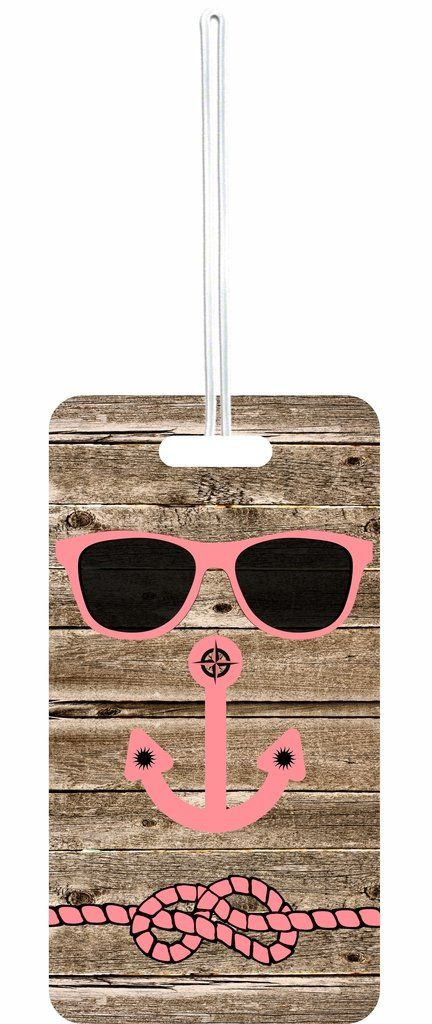 Hipster Beach Face on Wood Rosie Parker Inc. Set of 8 Luggage Tags with Personalized Back